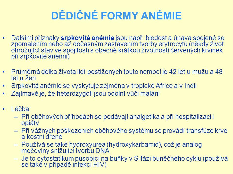 DĚDIČNÉ FORMY ANÉMIE Krevní roztěr při srpkovité anémii http://cs.wikipedia.org/wiki/Hemolytick%C3%A1_an%C3%A9mie