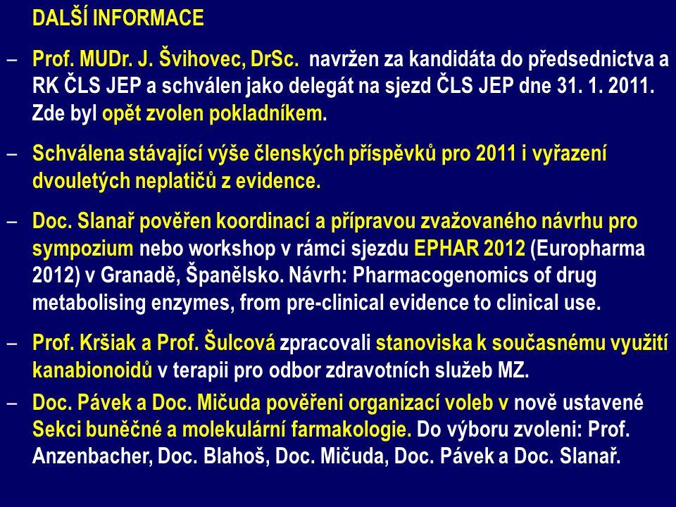 DALŠÍ INFORMACE – Prof. MUDr. J. Švihovec, DrSc. navržen za kandidáta do předsednictva a RK ČLS JEP a schválen jako delegát na sjezd ČLS JEP dne 31. 1