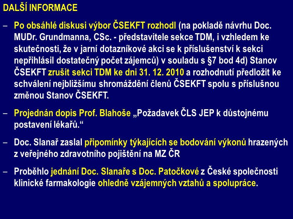 DALŠÍ INFORMACE – Po obsáhlé diskusi výbor ČSEKFT rozhodl (na pokladě návrhu Doc. MUDr. Grundmanna, CSc. - představitele sekce TDM, i vzhledem ke skut