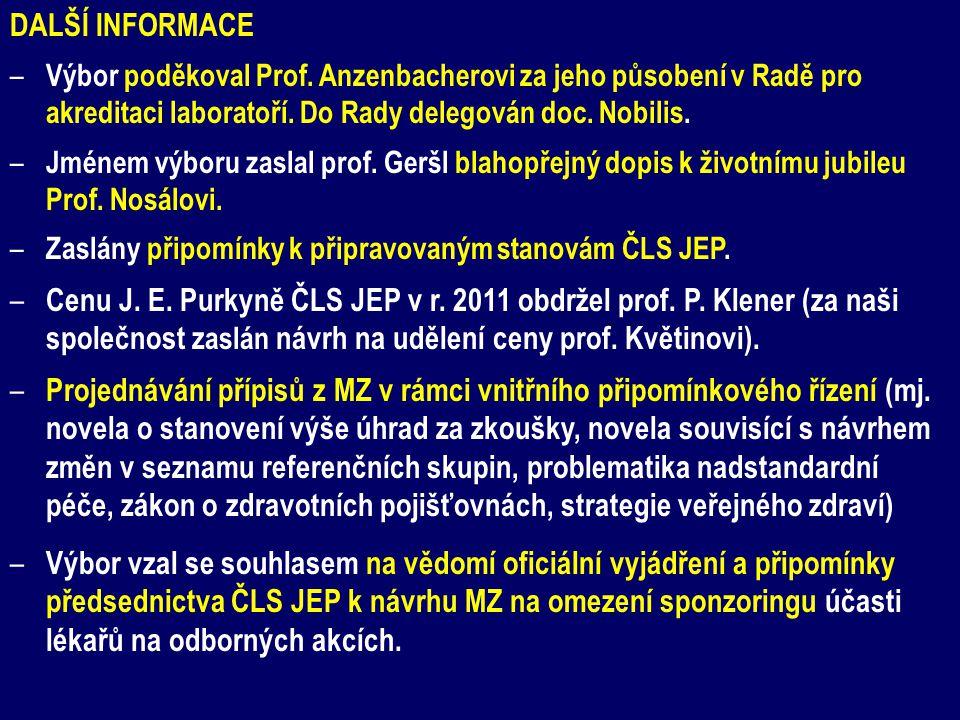 DALŠÍ INFORMACE – Výbor poděkoval Prof. Anzenbacherovi za jeho působení v Radě pro akreditaci laboratoří. Do Rady delegován doc. Nobilis. – Jménem výb