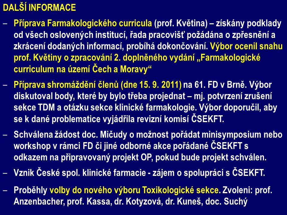 DALŠÍ INFORMACE – Příprava Farmakologického curricula (prof. Květina) – získány podklady od všech oslovených institucí, řada pracovišť požádána o zpře