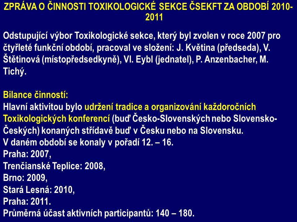 ZPRÁVA O ČINNOSTI TOXIKOLOGICKÉ SEKCE ČSEKFT ZA OBDOBÍ 2010- 2011 Odstupující výbor Toxikologické sekce, který byl zvolen v roce 2007 pro čtyřleté funkční období, pracoval ve složení: J.