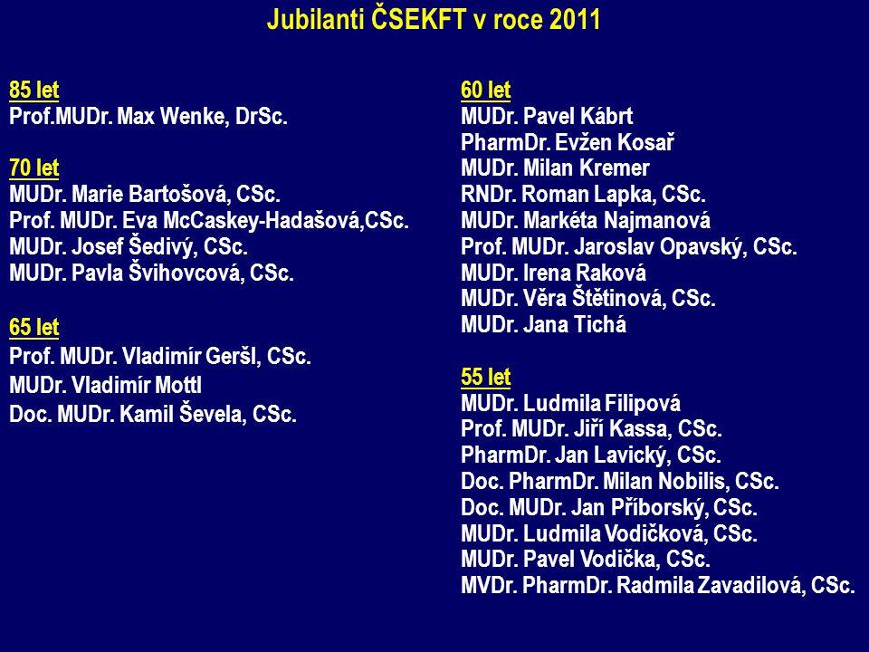 Jubilanti ČSEKFT v roce 2011 85 let Prof.MUDr. Max Wenke, DrSc. 70 let MUDr. Marie Bartošová, CSc. Prof. MUDr. Eva McCaskey-Hadašová,CSc. MUDr. Josef