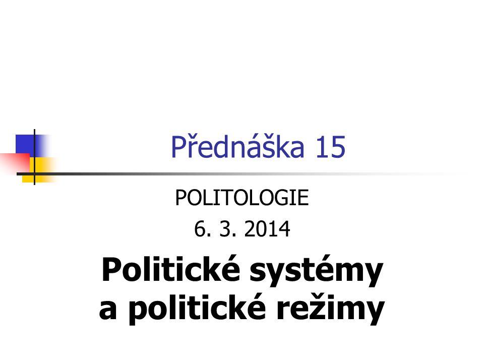 Politický systém = sociální systém politiky a vlády Má vztah k ekonomickému, právnímu i kulturnímu systému Několik definic: Je souhrnem institucí, politických organizací i zájmových skupin, vztahů mezi nimi a politických zvyklostí norem a pravidel, které určují jejich funkci je formován členy sociálních organizací (skupin), které vládnou je systém, který má monopol legitimně použít sílu a tvořit právo