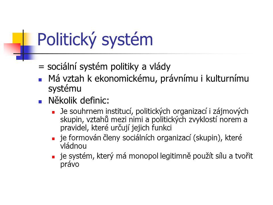 Politický systém Každý politický systém obecně zahrnuje: systém státní moci - tzn.