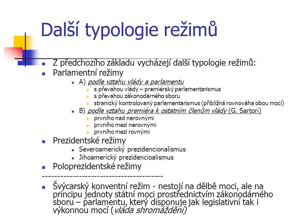 Nedemokratické režimy Moc není rozdělena do jednotlivých pilířů, ale drží ji mocenské centrum: diktátor, politická strana, kolegiální orgán (junta), jiná entita státní moc vytváří hierarchické vztahy nadřízenosti a podřízenosti (vertikální), místo komunikace horizontální Nedemokratický režim může maskovat svou podstatu formální existencí institucí typických pro demokratické státy (parlament, ústava, soudní soustava), které jsou bezvýznamné a neplní svou funkci V nedemokratických systémech chybí některé z následujících kritérií demokratického procesu: Účinná participace – všichni členové musí dostat příležitost sdělit svá stanoviska k projednávanému problému Volební rovnost – každý má právo volit a hlas každého má stejnou váhu Poučené porozumění – každý musí mít příležitost získat dostatek informací o projednávaném tématu Kontrola nad nastolováním témat k projednávání – členové mají právo rozhodovat o tom co bude projednáváno – může tak být změněn dosavadní směr Zapojení všech dospělých