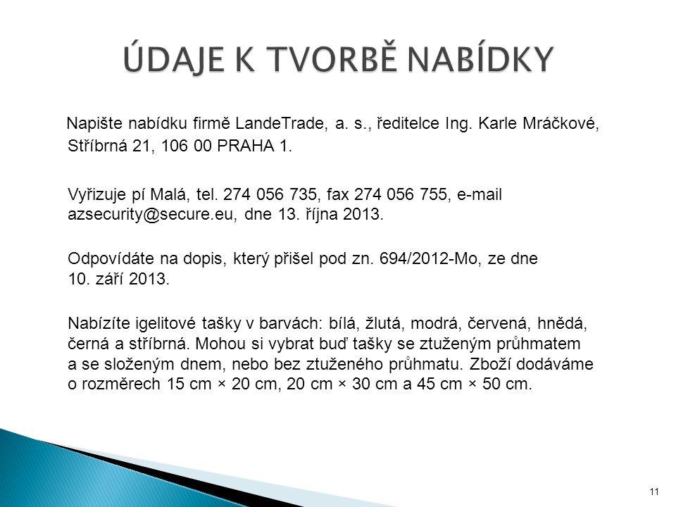 Napište nabídku firmě LandeTrade, a. s., ředitelce Ing. Karle Mráčkové, Stříbrná 21, 106 00 PRAHA 1. Vyřizuje pí Malá, tel. 274 056 735, fax 274 056 7