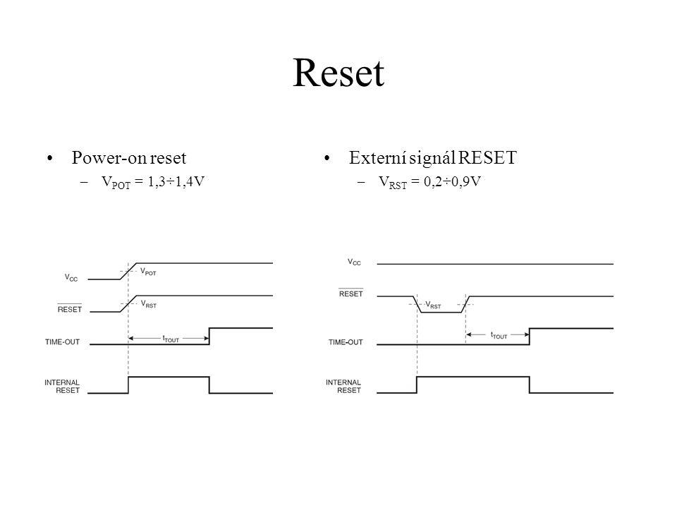 Brown-out reset Detekce zhoršené kvality napájecího napětí Možnost zvolit jednu ze dvou hladin citlivosti –BODLEVEL = 0: V BOT = 4V –BODLEVEL = 1: V BOT = 2,6V V BOT+ = V BOT + V HYST /2 V BOT- = V BOT – V HYST /2 V HYST = 130mV