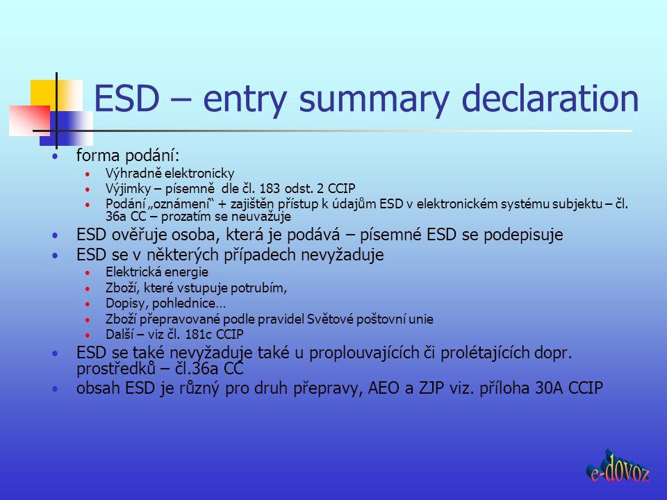 """ESD – entry summary declaration forma podání: Výhradně elektronicky Výjimky – písemně dle čl. 183 odst. 2 CCIP Podání """"oznámení"""" + zajištěn přístup k"""