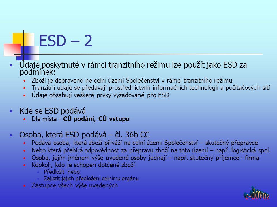 ESD – 2 Údaje poskytnuté v rámci tranzitního režimu lze použít jako ESD za podmínek: Zboží je dopraveno ne celní území Společenství v rámci tranzitníh