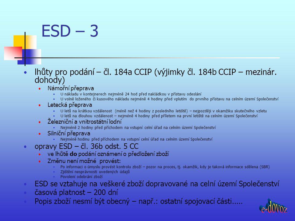 ESD – 3 lhůty pro podání – čl. 184a CCIP (výjimky čl. 184b CCIP – mezinár. dohody) Námořní přeprava U nákladu v kontejnerech nejméně 24 hod před naklá