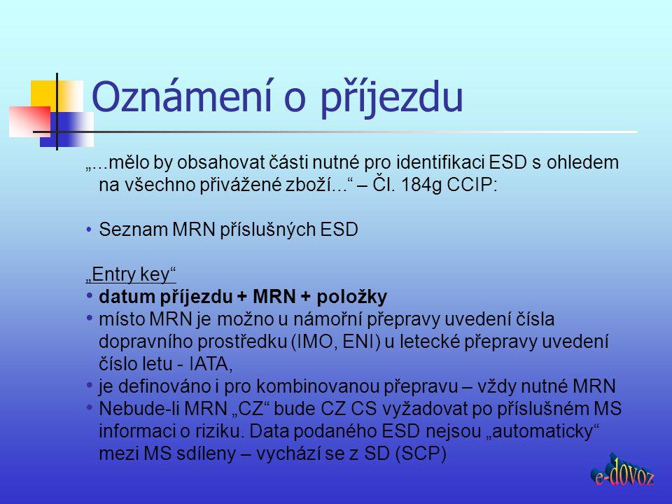 """Oznámení o příjezdu """"...mělo by obsahovat části nutné pro identifikaci ESD s ohledem na všechno přivážené zboží..."""" – Čl. 184g CCIP: Seznam MRN příslu"""
