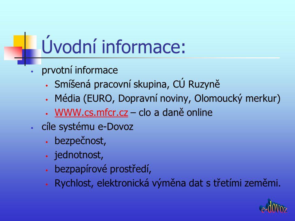 prvotní informace Smíšená pracovní skupina, CÚ Ruzyně Média (EURO, Dopravní noviny, Olomoucký merkur) WWW.cs.mfcr.cz – clo a daně online WWW.cs.mfcr.c