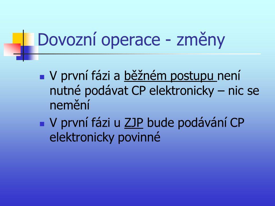 Dovozní operace - změny V první fázi a běžném postupu není nutné podávat CP elektronicky – nic se nemění V první fázi u ZJP bude podávání CP elektroni