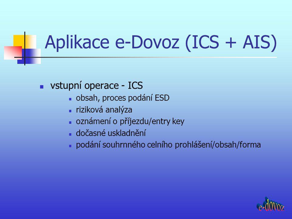 Aplikace e-Dovoz (ICS + AIS) dovozní operace – AIS elektronické deklarování do některého z dovozních režimů umožnění vyhotovení ESD z e-CP umožnění zavedení CCŘ na úrovni Společenství je nasazení vázáno na přijetí modernizovaného celního Kodexu (MCC) na národní úrovni – technický přepis stávající aplikace WDIS a změna postupů (v intencích stávající legislativy) tak, aby pokud možno neodporovaly dnes známým tezím MCC