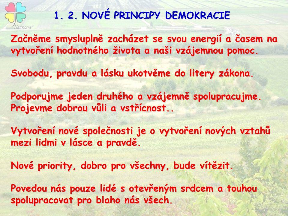 1. 2. NOVÉ PRINCIPY DEMOKRACIE 1. 2. NOVÉ PRINCIPY DEMOKRACIE Začněme smysluplně zacházet se svou energií a časem na vytvoření hodnotného života a naš
