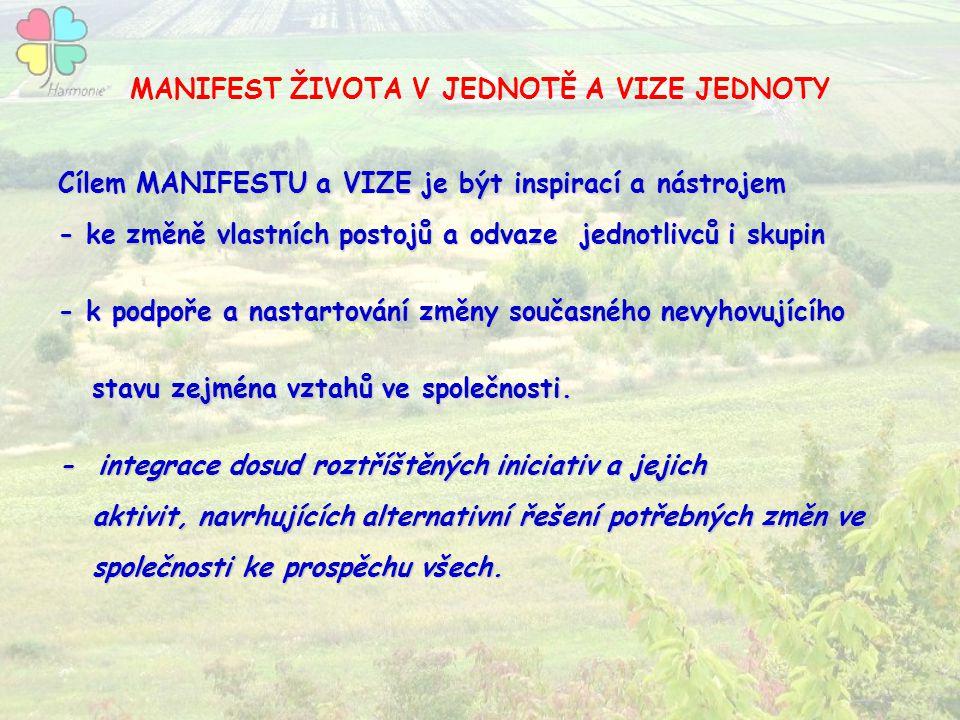 MANIFEST ŽIVOTA V JEDNOTĚ A VIZE JEDNOTY Cílem MANIFESTU a VIZE je být inspirací a nástrojem - ke změně vlastních postojů a odvaze jednotlivců i skupi