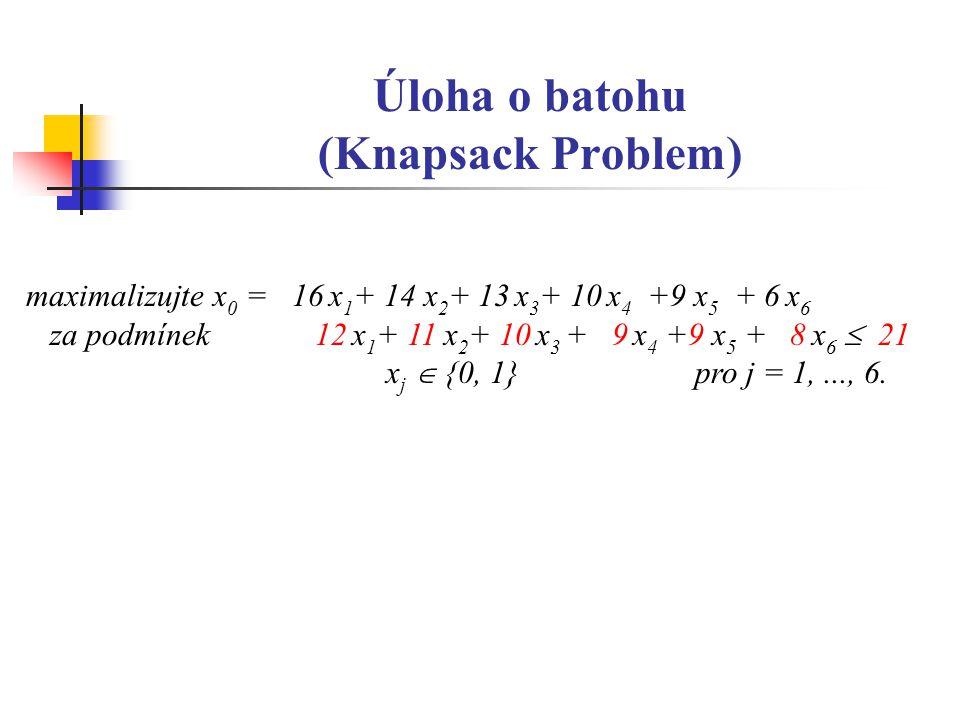 Úloha o batohu (Knapsack Problem) maximalizujte x 0 = 16 x 1 + 14 x 2 + 13 x 3 + 10 x 4 +9 x 5 + 6 x 6 za podmínek 12 x 1 + 11 x 2 + 10 x 3 + 9 x 4 +9 x 5 + 8 x 6  21 x j  {0, 1} pro j = 1,..., 6.