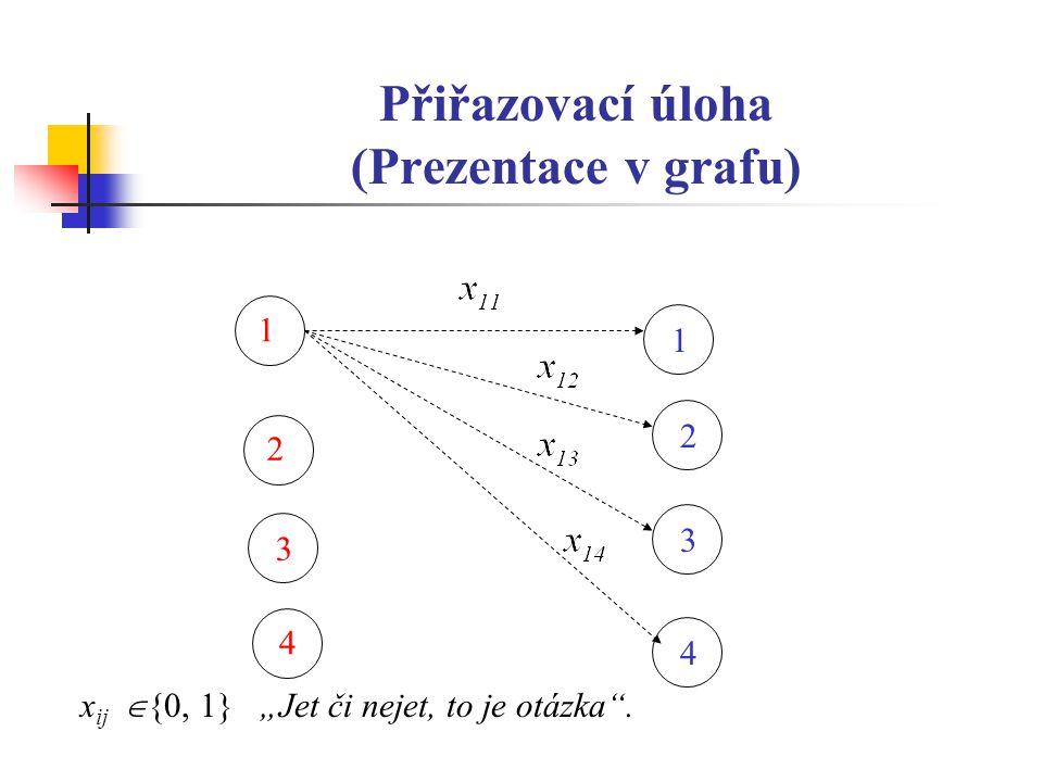 """Přiřazovací úloha (Prezentace v grafu) 2 1 1 3 2 3 4 x ij  {0, 1} """"Jet či nejet, to je otázka . 4"""