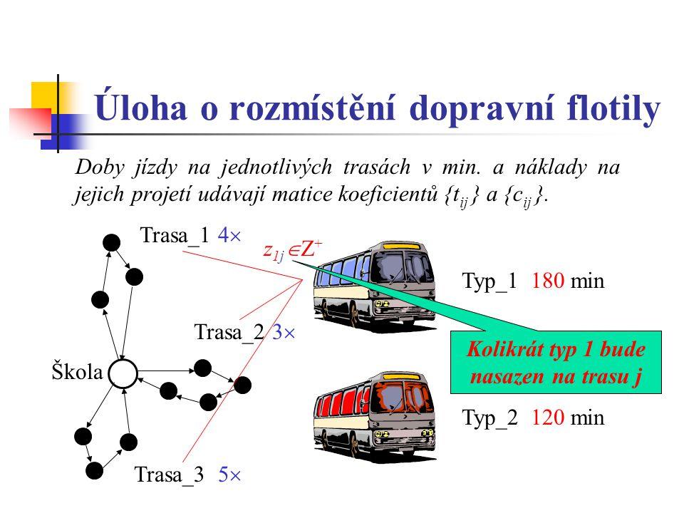 Úloha o rozmístění dopravní flotily Doby jízdy na jednotlivých trasách v min.