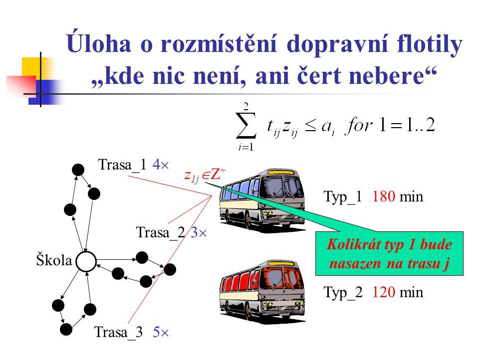 """Úloha o rozmístění dopravní flotily """"kde nic není, ani čert nebere Typ_2 120 min z1jZ+z1jZ+ Škola Typ_1 180 min Trasa_3 5  Trasa_2 3  Trasa_1 4  Kolikrát typ 1 bude nasazen na trasu j"""