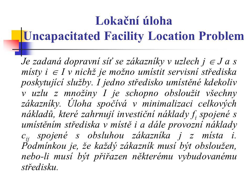 Lokační úloha Uncapacitated Facility Location Problem Je zadaná dopravní síť se zákazníky v uzlech j  J a s místy i  I v nichž je možno umístit servisní střediska poskytující služby.