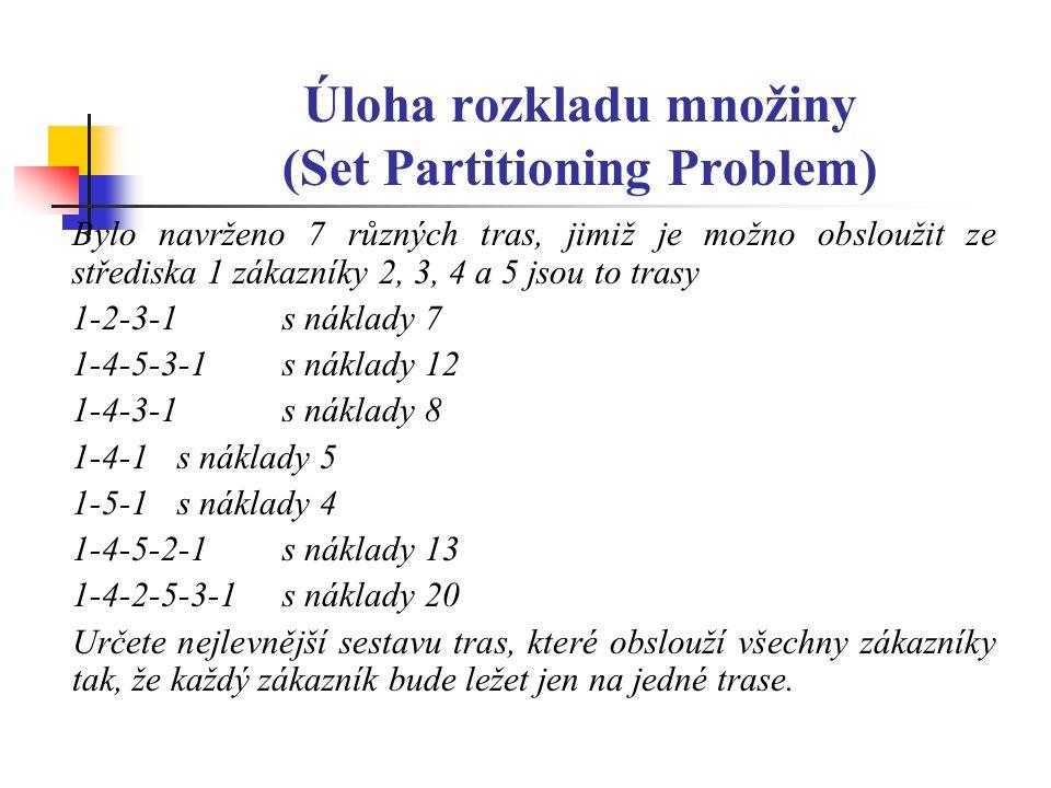 Úloha rozkladu množiny (Set Partitioning Problem) Bylo navrženo 7 různých tras, jimiž je možno obsloužit ze střediska 1 zákazníky 2, 3, 4 a 5 jsou to trasy 1-2-3-1 s náklady 7 1-4-5-3-1s náklady 12 1-4-3-1s náklady 8 1-4-1s náklady 5 1-5-1 s náklady 4 1-4-5-2-1s náklady 13 1-4-2-5-3-1s náklady 20 Určete nejlevnější sestavu tras, které obslouží všechny zákazníky tak, že každý zákazník bude ležet jen na jedné trase.