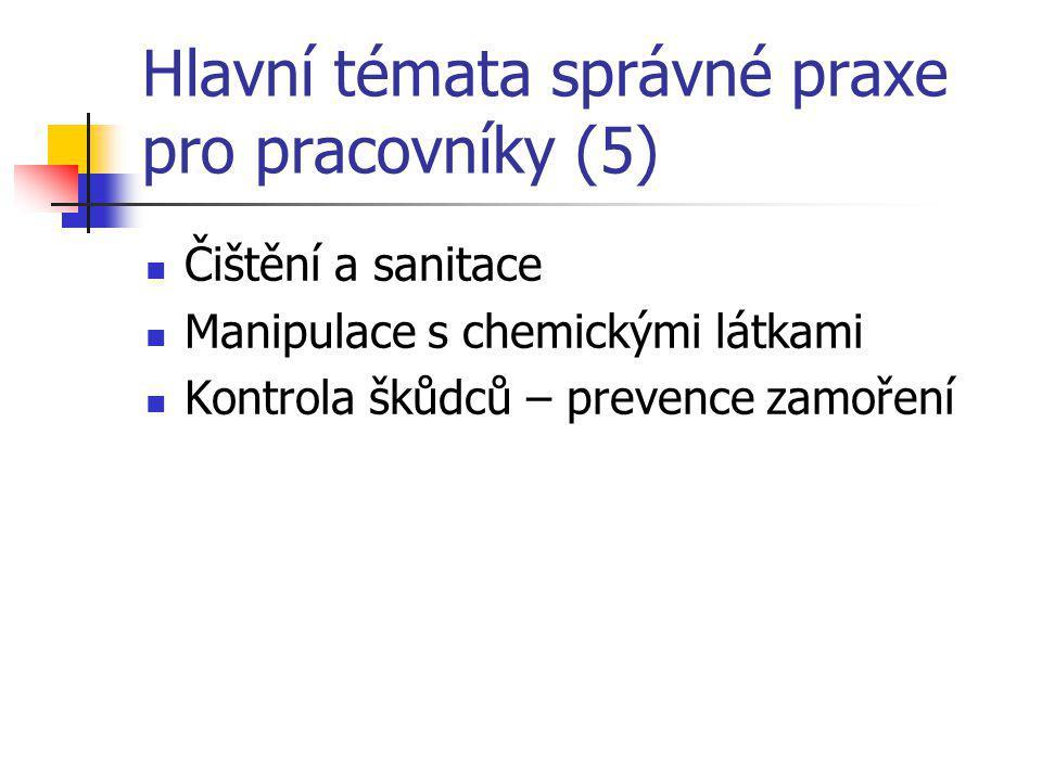 Hlavní témata správné praxe pro pracovníky (5) Čištění a sanitace Manipulace s chemickými látkami Kontrola škůdců – prevence zamoření