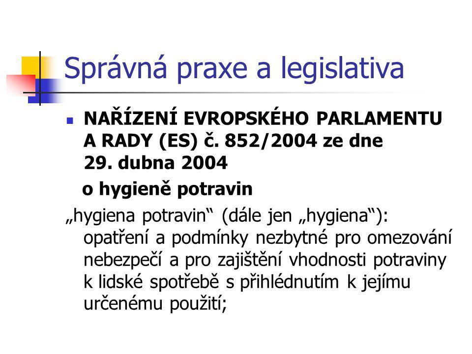 """Správná praxe a legislativa NAŘÍZENÍ EVROPSKÉHO PARLAMENTU A RADY (ES) č. 852/2004 ze dne 29. dubna 2004 o hygieně potravin """"hygiena potravin"""" (dále j"""
