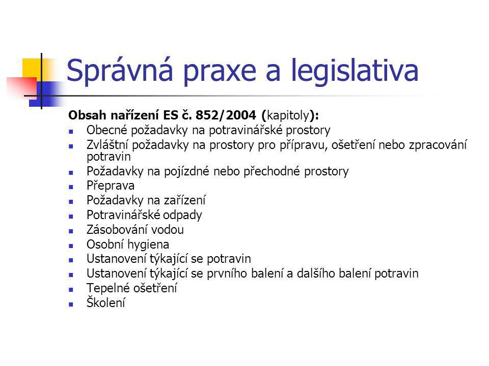 Správná praxe a legislativa Obsah nařízení ES č. 852/2004 (kapitoly): Obecné požadavky na potravinářské prostory Zvláštní požadavky na prostory pro př