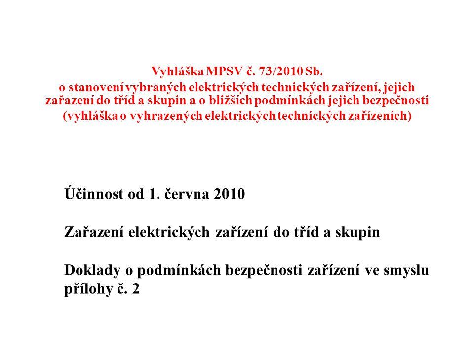 Účinnost od 1. června 2010 Zařazení elektrických zařízení do tříd a skupin Doklady o podmínkách bezpečnosti zařízení ve smyslu přílohy č. 2 Vyhláška M