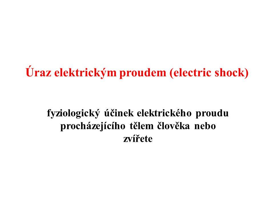 Úraz elektrickým proudem (electric shock) fyziologický účinek elektrického proudu procházejícího tělem člověka nebo zvířete