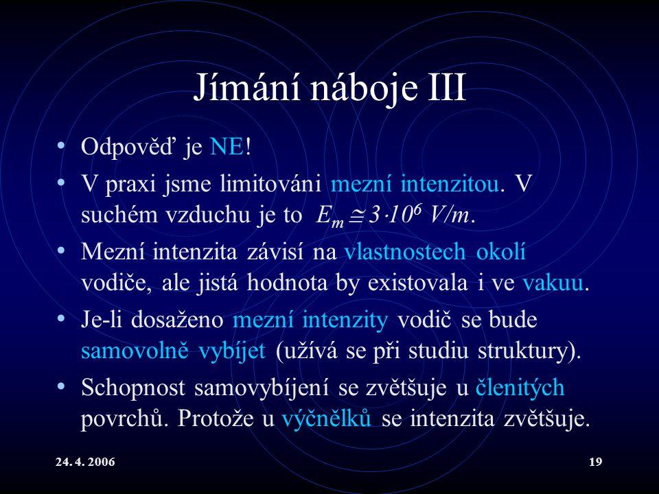 24.4. 200619 Jímání náboje III Odpověď je NE. V praxi jsme limitováni mezní intenzitou.