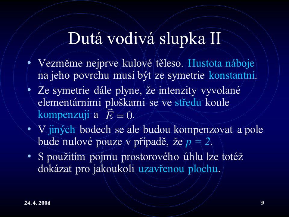 24.4. 20069 Dutá vodivá slupka II Vezměme nejprve kulové těleso.