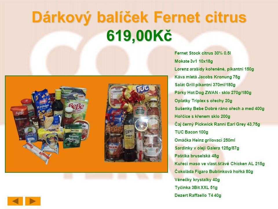 Dárkový balíček Fernet citrus 619,00Kč Fernet Stock citrus 30% 0.5l Mokate 3v1 10x18g Lorenz arašídy kořeněné, pikantní 150g Káva mletá Jacobs Kronung