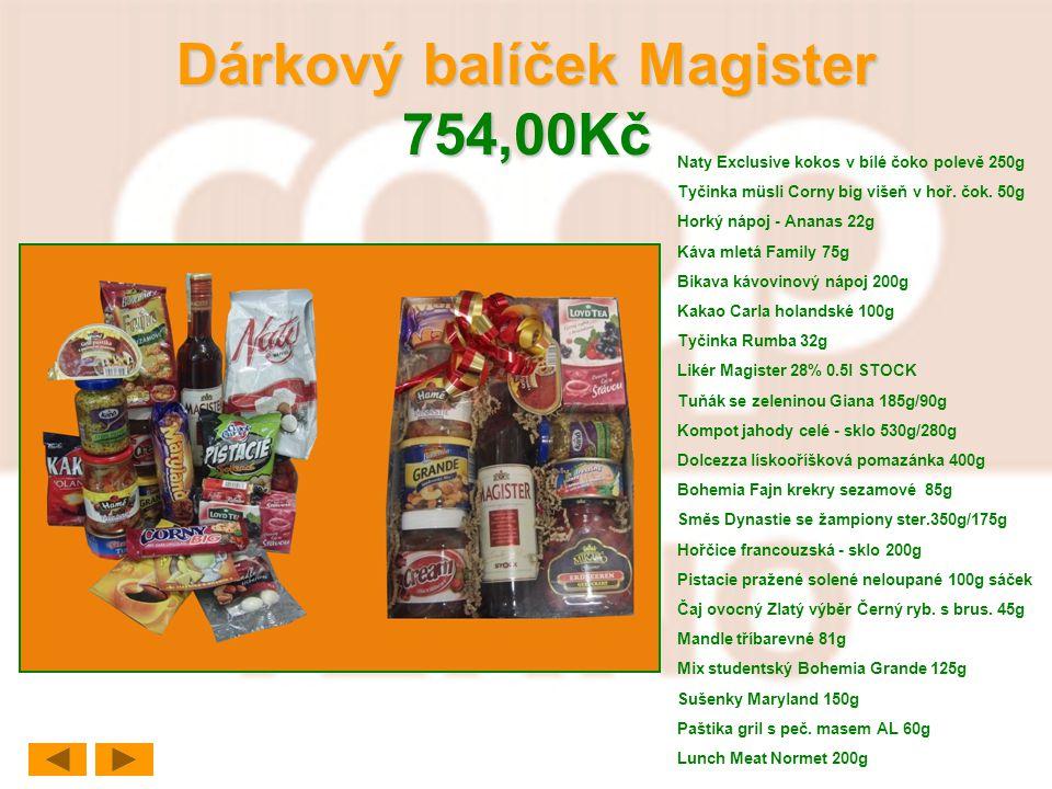 Dárkový balíček Magister 754,00Kč Naty Exclusive kokos v bílé čoko polevě 250g Tyčinka müsli Corny big višeň v hoř. čok. 50g Horký nápoj - Ananas 22g
