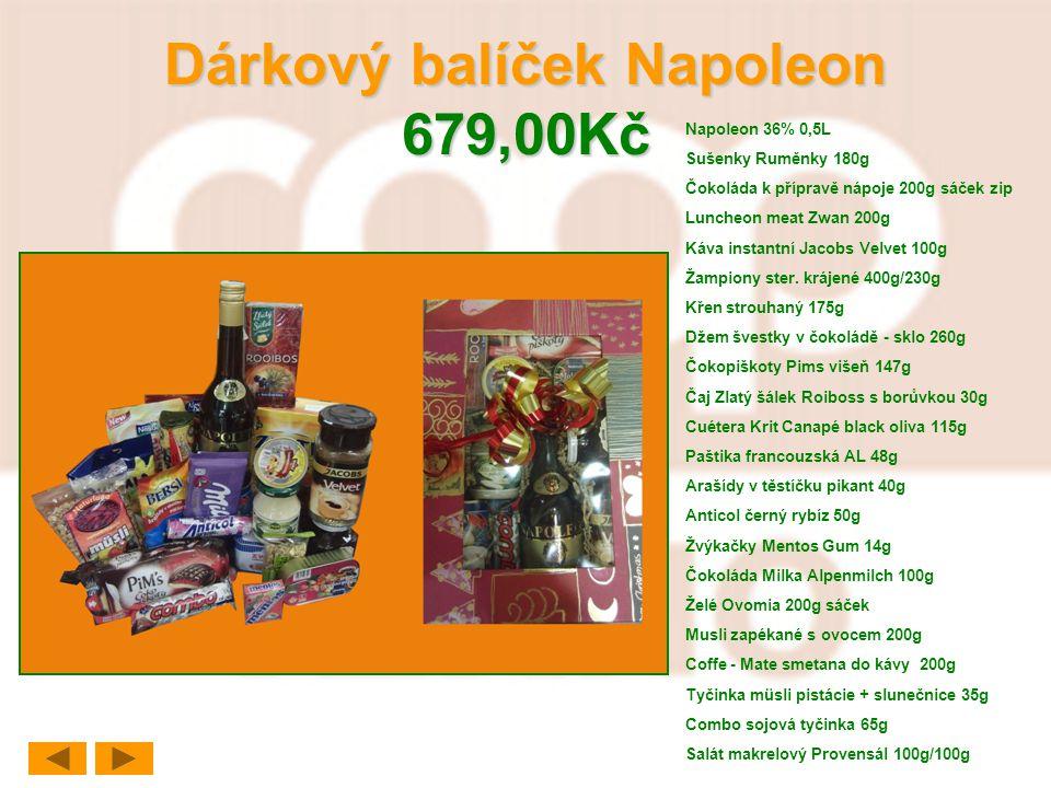 Dárkový balíček Napoleon 679,00Kč Napoleon 36% 0,5L Sušenky Ruměnky 180g Čokoláda k přípravě nápoje 200g sáček zip Luncheon meat Zwan 200g Káva instan