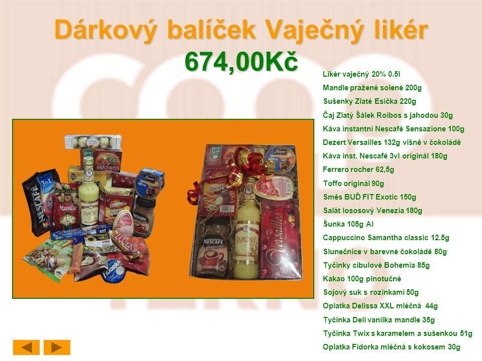 Dárkový balíček Vaječný likér 674,00Kč Likér vaječný 20% 0.5l Mandle pražené solené 200g Sušenky Zlaté Esíčka 220g Čaj Zlatý Šálek Roibos s jahodou 30