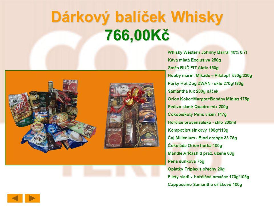 Dárkový balíček Whisky 766,00Kč Whisky Western Johnny Barral 40% 0,7l Káva mletá Exclusive 250g Směs BUĎ FIT Aktiv 150g Houby marin. Mikado – Pilztopf