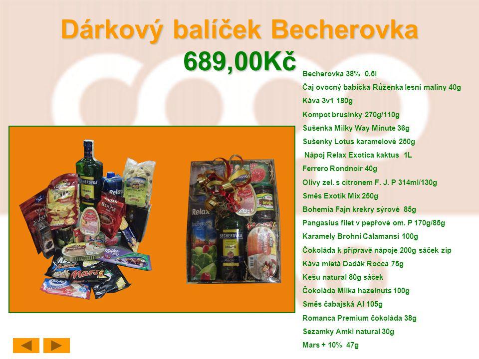 Dárkový balíček Becherovka 689,00Kč Becherovka 38% 0.5l Čaj ovocný babička Růženka lesní maliny 40g Káva 3v1 180g Kompot brusinky 270g/110g Sušenka Mi