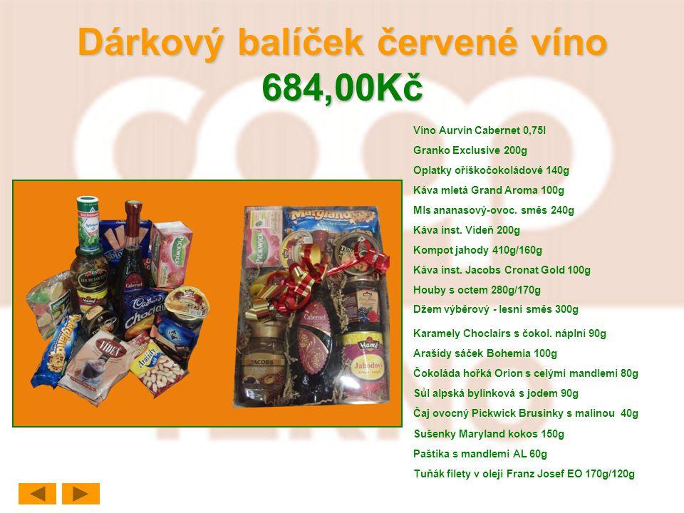Dárkový balíček červené víno 684,00Kč Víno Aurvin Cabernet 0,75l Granko Exclusive 200g Oplatky oříškočokoládové 140g Káva mletá Grand Aroma 100g Mls a
