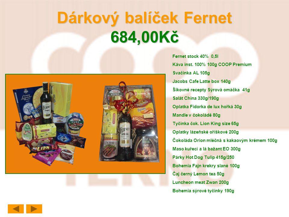 Dárkový balíček Fernet 684,00Kč Fernet stock 40% 0,5l Káva inst. 100% 100g COOP Premium Svačinka AL 105g Jacobs Cafe Latte box 140g Šikovné recepty Sý