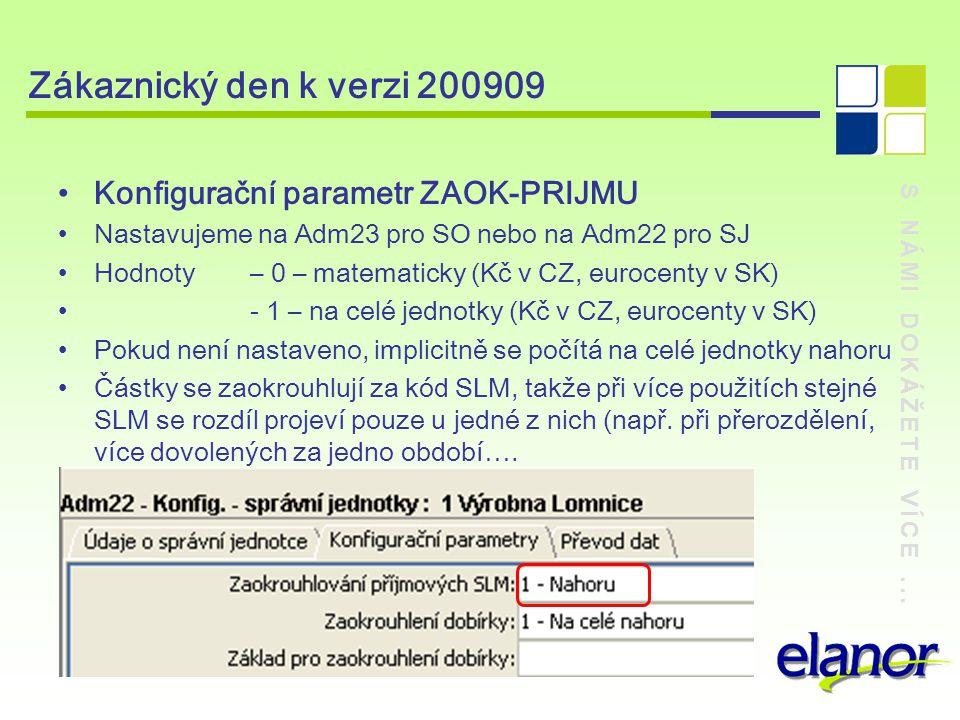 S NÁMI DOKÁŽETE VÍCE... Zákaznický den k verzi 200909 Konfigurační parametr ZAOK-PRIJMU Nastavujeme na Adm23 pro SO nebo na Adm22 pro SJ Hodnoty – 0 –