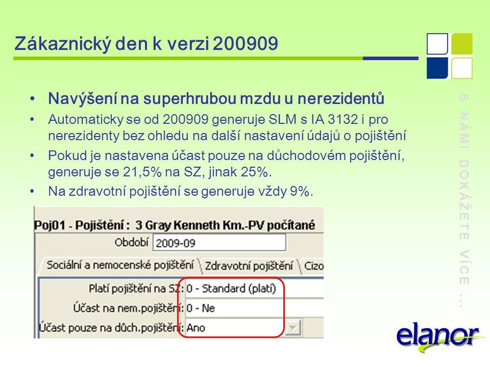 S NÁMI DOKÁŽETE VÍCE... Zákaznický den k verzi 200909 Navýšení na superhrubou mzdu u nerezidentů Automaticky se od 200909 generuje SLM s IA 3132 i pro