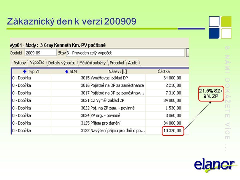 S NÁMI DOKÁŽETE VÍCE... Zákaznický den k verzi 200909 21,5% SZ+ 9% ZP