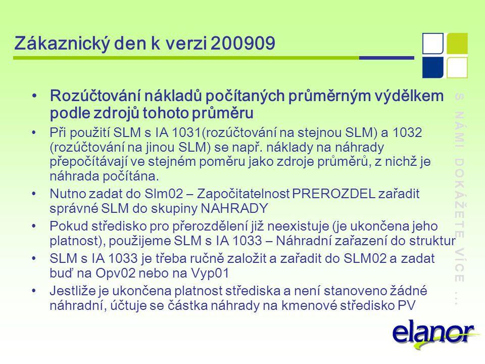 S NÁMI DOKÁŽETE VÍCE... Zákaznický den k verzi 200909 Rozúčtování nákladů počítaných průměrným výdělkem podle zdrojů tohoto průměru Při použití SLM s