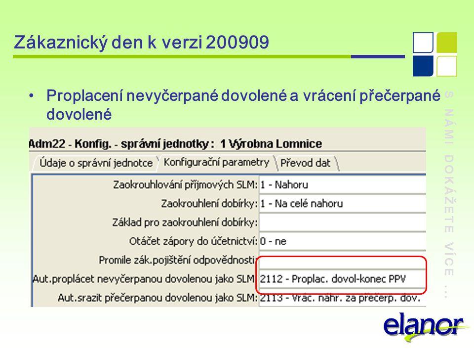 S NÁMI DOKÁŽETE VÍCE... Zákaznický den k verzi 200909 Proplacení nevyčerpané dovolené a vrácení přečerpané dovolené
