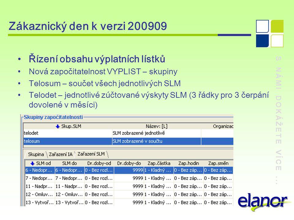 S NÁMI DOKÁŽETE VÍCE... Zákaznický den k verzi 200909 Řízení obsahu výplatních lístků Nová započitatelnost VYPLIST – skupiny Telosum – součet všech je