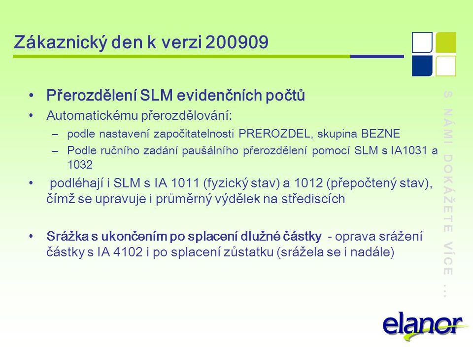 S NÁMI DOKÁŽETE VÍCE... Zákaznický den k verzi 200909 Přerozdělení SLM evidenčních počtů Automatickému přerozdělování: –podle nastavení započitatelnos