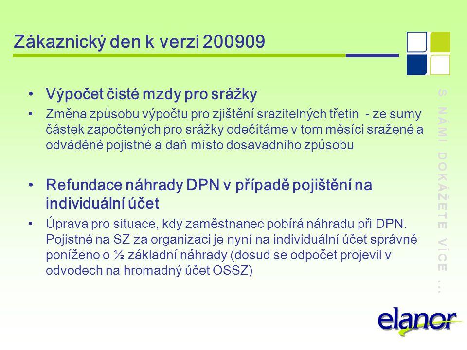 S NÁMI DOKÁŽETE VÍCE... Zákaznický den k verzi 200909 Výpočet čisté mzdy pro srážky Změna způsobu výpočtu pro zjištění srazitelných třetin - ze sumy č